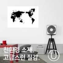 [유니크] 세계지도 포스터형 데코스티커 / 그래픽 블랙