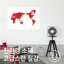 [유니크] 세계지도 포스터형 데코스티커 / 그래픽 레드