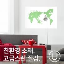 [유니크] 세계지도 포스터형 데코스티커 / 도트 그린