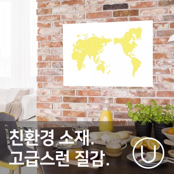 [유니크] 세계지도 포스터형 데코스티커 / 도트 옐로우