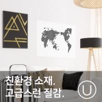 [유니크] 세계지도 포스터형 데코스티커 / 도트 블랙