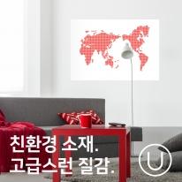[유니크] 세계지도 포스터형 데코스티커 / 도트 레드