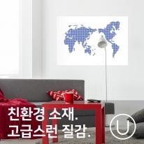 [유니크] 세계지도 포스터형 데코스티커 / 도트 블루