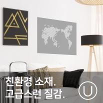 [유니크] 세계지도 포스터형 데코스티커 / 도트 화이트그레이