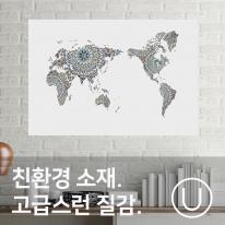 [유니크] 세계지도 포스터형 데코스티커 / 아라베스크 블루