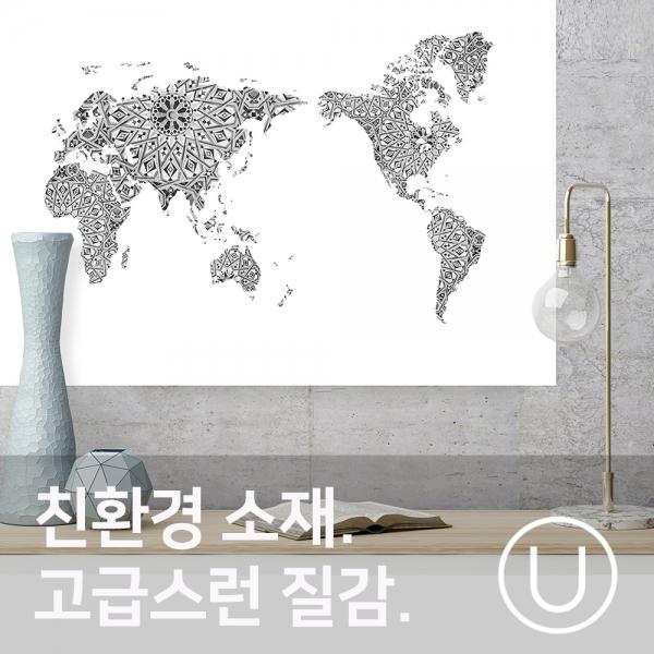 [유니크] 세계지도 포스터형 데코스티커 / 아라베스크 모노
