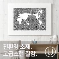 [유니크] 세계지도 포스터형 데코스티커 / 아라베스크 리벌스