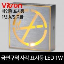 금연구역 사각 표시등 옐로우 LED 1w 유도등