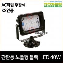 지오라이팅 간판 투광기 노출 블랙 LED 40W 주광색