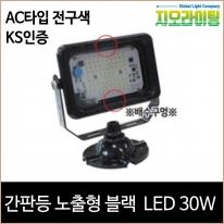 지오라이팅 간판 투광기 노출 블랙 LED 30W 전구색