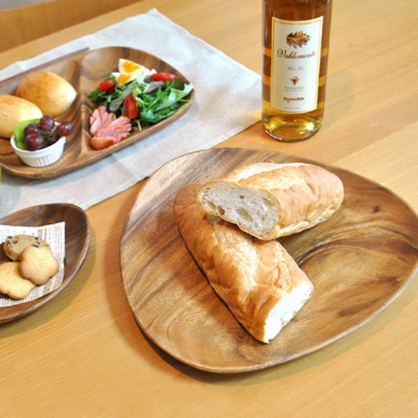 일본 본아뻬띠 천연아카시아 달걀형 우드플레이트