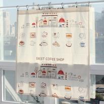 [모모제작소] 스위트 커피숍 북유럽 코튼 가리개커튼 104x109