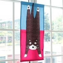[모모제작소]나른한 고양이 북유럽 옥스포드 가리개커튼 47x102
