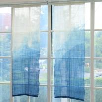[모모제작소]천연 쪽염색 산수화 삼베 가리개커튼 56x170
