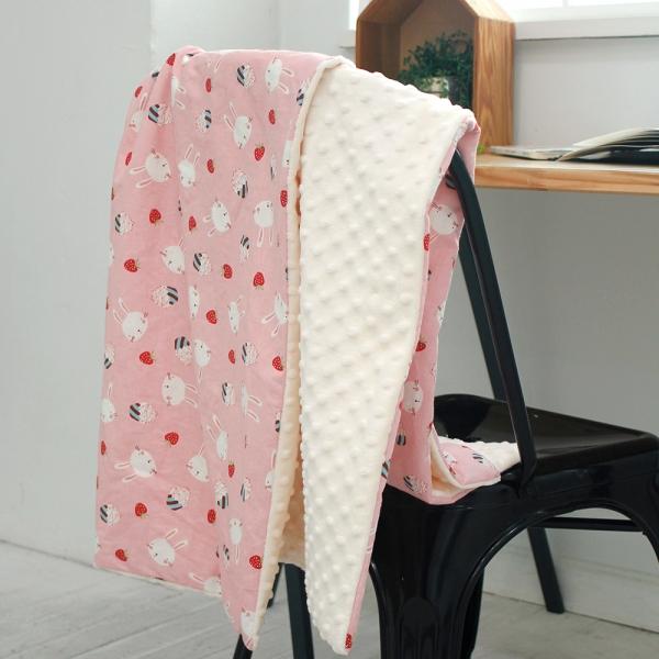 [모모제작소]뽁뽁이 양털 딸기라떼 북유럽 코튼 블랭킷 82x107