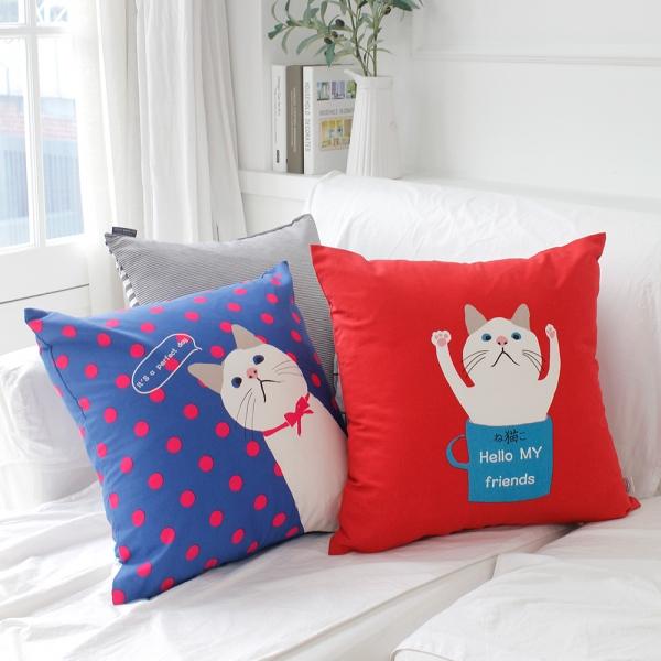 [모모제작소]고양이의 보은 북유럽 옥스포드 쿠션 2종세트50x50 (솜포함)