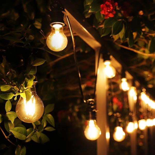 [포라이트] 16미터 20소켓 파티 스트링라이트 야외 전등선 화이트 4W LED 인지구(주광색) 20개 포함