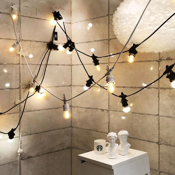 [포라이트] 16미터 20소켓 파티 스트링라이트 야외 전등선 화이트 4W 에디슨 A60 LED 전구 20개 포함