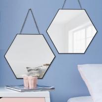 우드로하우스 블랙메탈 육각 원형 스트랩 거울 2종
