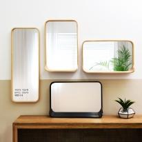 우드로하우스 리즈 원목 벽거울 CSM시리즈 화장대 선반 거울