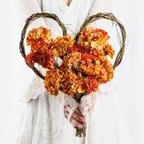 셀프 웨딩 카네이션 하트 꽃다발 버밀리언 조화