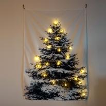 크리스마스 월 인테리어 패브릭 포스터 스노우 트리 꼬마 전구 세트