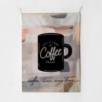패브릭 포스터 태피스트리 가리개 커튼 커피 타임
