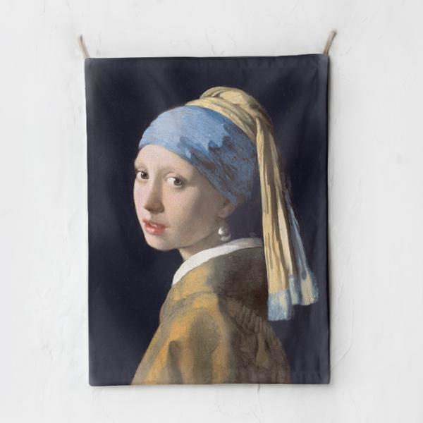 패브릭 포스터 태피스트리 가리개 커튼 진주 귀걸이를 한 소녀