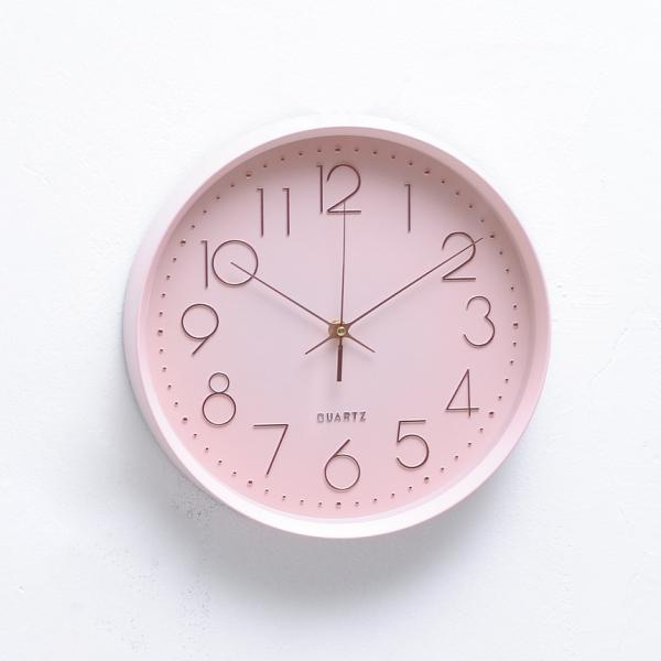 인테리어 무소음 쿼츠 벽시계 핑크