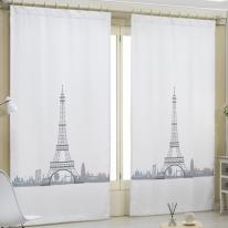 DTP 화이트 암막커튼/거실,아이방 인테리어커튼 (에펠탑)