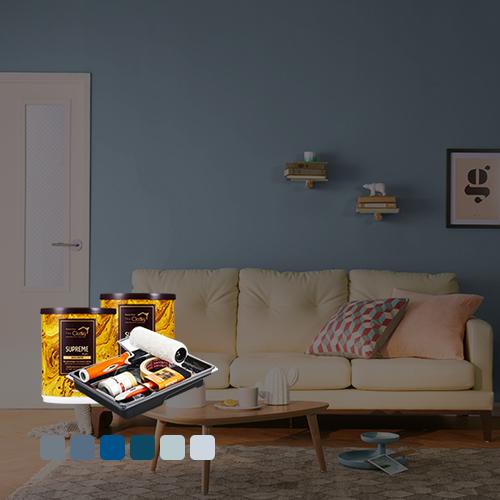 ●롤러&트레이라이너 증정●[홈앤톤즈][Best Color Blue] 벽지페인트 세트(롤러세트 전용)[작은방 (7평)2벽 12 ㎡]