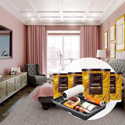 [홈앤톤즈]안방 벽지셀프페인팅 세트 [작은방(2평)4벽면+천장 or 큰방(3~4평)4벽면/ 24㎡]