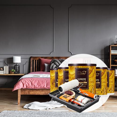 [홈앤톤즈]큰방 셀프페인팅 세트 [큰방(3~4평)4개벽면+천장/ 36㎡]