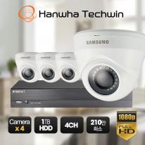 [한화테크윈] 간편설치 4채널 CCTV 세트 SDH-D0401 / 210만화소 풀패키지