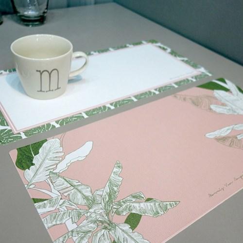 스키니 방수 식탁매트 핑크 야자수