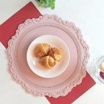 실리콘 원형 식탁매트 프렌치 핑크