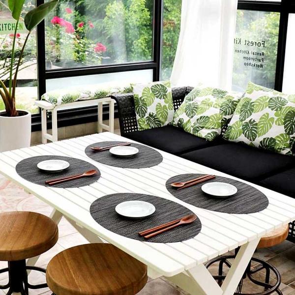 친환경 타원 방수식탁매트 다크Woody