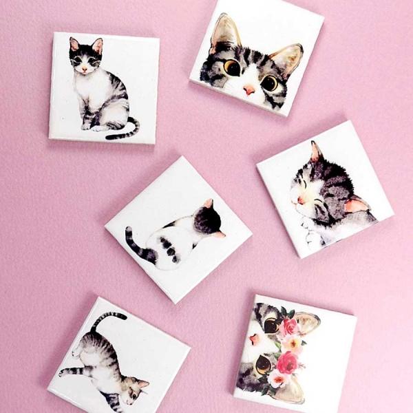 냉장고자석 고양이 3P 세트 / 메모홀더 / 마그넷