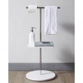 [행거] 캐시아 욕실 아크릴 스탠딩 헹거 이동식 옷걸이 휴지걸이 화장실 선반 (400x360x850) HSL-C11