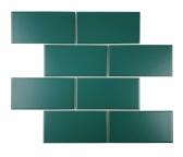 [모자이크타일] 직사각형 직각 격자 타일 블루그린 무광 G68T-B.GREEN-M 1박스(13장)