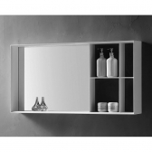 [거울] 마르지아 플러스 화이트 아크릴 벽 거울 욕실 수납 선반 (1000x500x120) HSL-M08L
