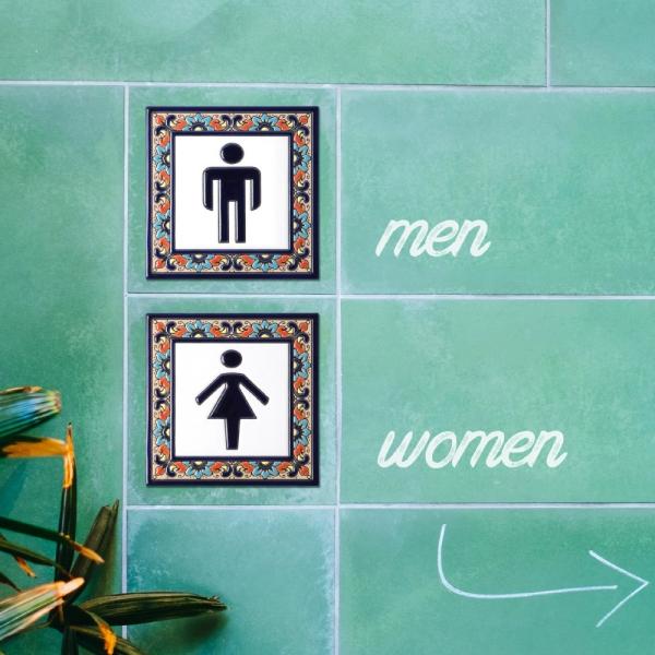 스페인 핸드프린트 타일 - 남녀 화장실 데코 타일