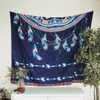 태피스트리 벽장식 패브릭 포스터 - 인디언 드림 캐쳐 네이비 (150x130cm)