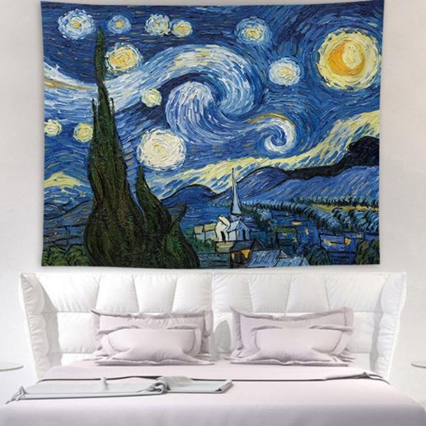 태피스트리 벽장식 패브릭 포스터 - 빈센트 별밤 (150x130cm)