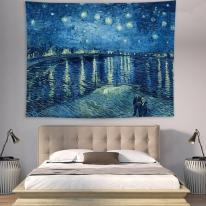 태피스트리 벽장식 패브릭 포스터 - 빈센트 론강 별밤 (150x130cm)
