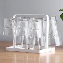 화이트블랙 스틸프레임 컵수납정리 컵걸이 위생건조대