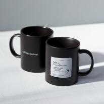 홈카페컵 머그컵 카페인쇼티지 블랙 무광 (380ml)
