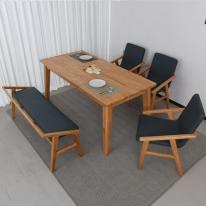 엘린느 6인 원목 식탁 세트(등벤치형)