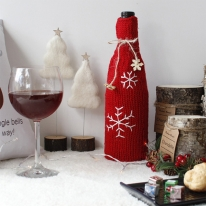 크리스마스 홈파티템 눈꽃뜨개 와인커버