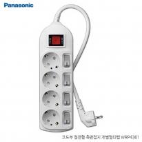 파나소닉ES신동아 3,000W 고용량 개별 스위치 코드부 멀티탭 4구 1.5M (16A/250V)
